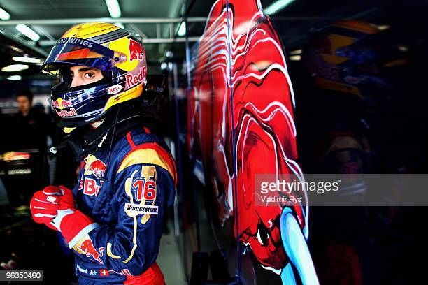 Sebastian Buemi of Switzerland and Toro Rosso is pictured in the garage during winter testing at the Ricardo Tormo Circuit on February 2, 2010 in...