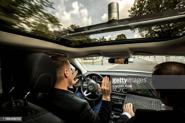 Sebastian Bunk Resercher Smart Mobility Frauenhofer Institute for Open Communication System FOKUS drives a autonomous vehicle during inauguration...