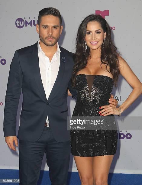 Sebastian Caicedo and Carmen Villalobos arrive at Telemundo's Premios Tu Mundo 'Your World' Awards at American Airlines Arena on August 25 2016 in...