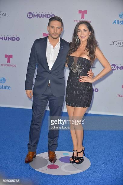 "Sebastian Caicedo and Carmen Villalobos arrives at Telemundo's Premios Tu Mundo ""Your World"" Awards>> at American Airlines Arena on August 25, 2016..."