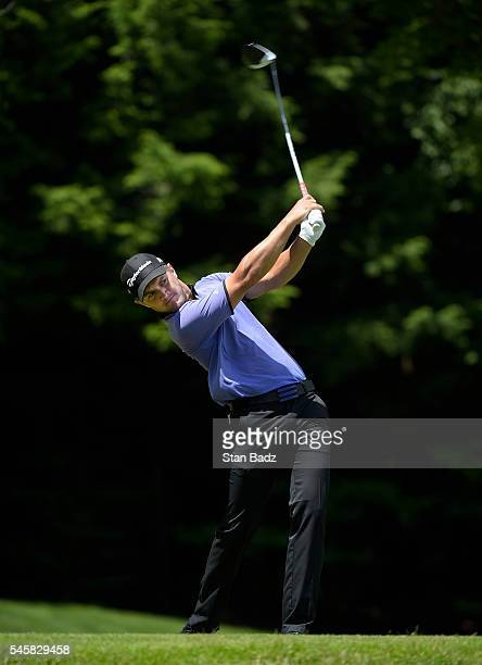Sebastian Cappelen hits a drive on the sixth hole during the third round of the Webcom Tour LECOM Health Challenge at Peek'n Peak Rst Upper Course on...