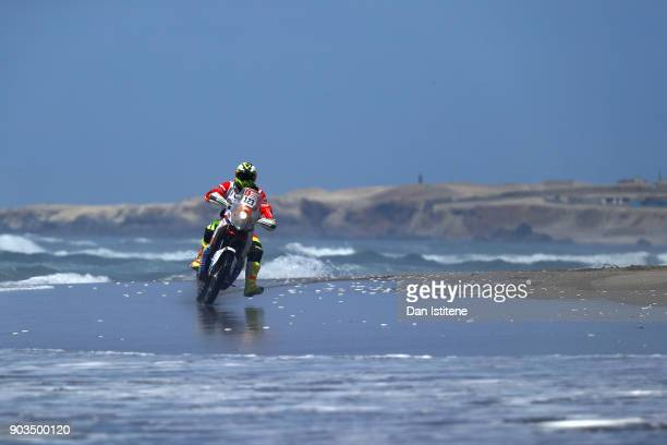 Sebastian Cavallero of Peru and Arequipenos al Dakar rides a KTM 450 Rally bike in the Classe 21 Super Production during stage five of the 2018 Dakar...