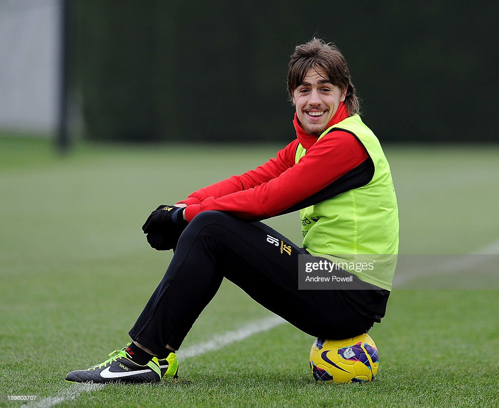 Sebastian Coates of Liverpool smiles during a training session at Melwood Training Ground on January 17, 2013 in Liverpool, England.