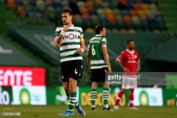 Sebastian Coates of Sporting CP celebrates after scoring a goal during the Portuguese League football match between Sporting CP and CD Santa Clara at...