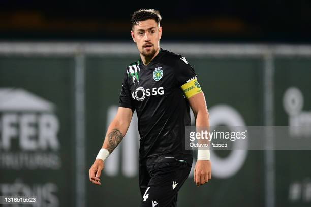 Sebastian Coates of Sporting CP in action during the Liga NOS match between Rio Ave FC and Sporting CP at the Rio Ave FC - Dos Arcos stadium in Vila...