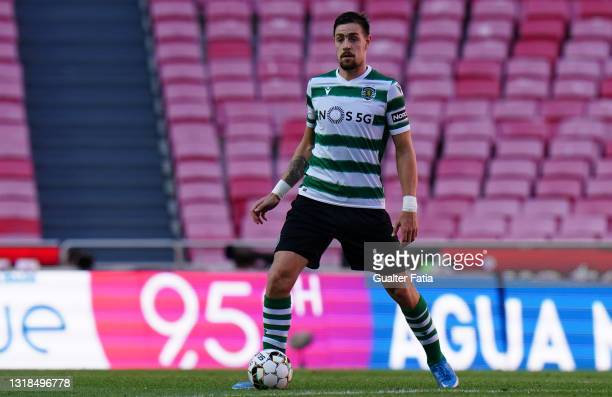 Sebastian Coates of Sporting CP in action during the Liga NOS match between SL Benfica and Sporting CP at Estadio da Luz on May 15, 2021 in Lisbon,...