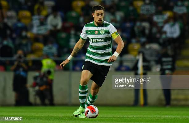 Sebastian Coates of Sporting CP in action during the Portuguese SuperCup match between Sporting CP and SC Braga at Estadio Municipal de Aveiro on...