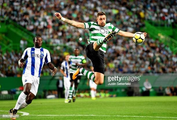 Sebastian Coates of Sporting CP in action during the Primeira Liga match between Sporting CP and Porto at Estadio Jose Alvalade on October 1 2017 in...