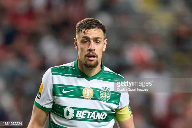 Sebastian Coates of Sporting CP looks on during the Liga Portugal Bwin match between SC Braga and Sporting CP at Estadio Municipal de Braga on August...