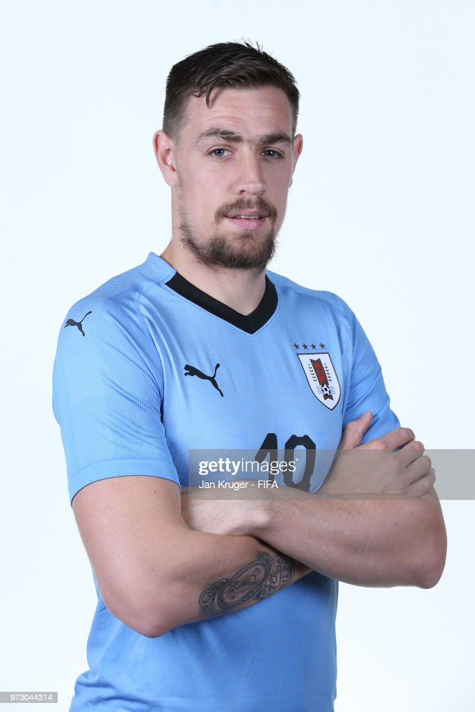 Sebastian Coates of Uruguay poses for a portrait during the official FIFA World Cup 2018 portrait session at Borsky Sport Centre on June 12, 2018 in Nizhniy Novgorod, Russia.