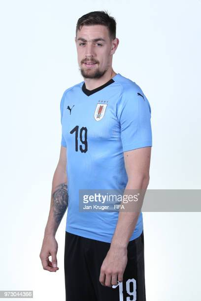 Sebastian Coates of Uruguay poses for a portrait during the official FIFA World Cup 2018 portrait session at Borsky Sport Centre on June 12 2018 in...