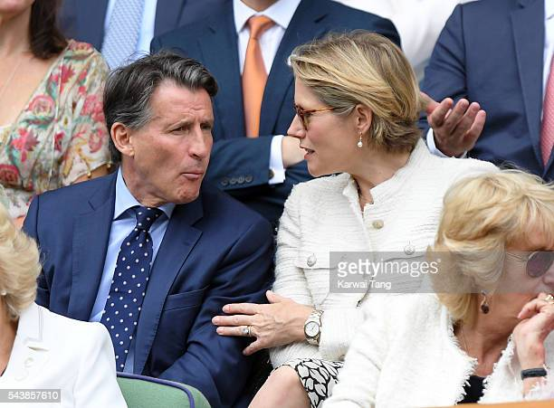 Sebastian Coe and Carole Annett attend day four of the Wimbledon Tennis Championships at Wimbledon on June 30 2016 in London England