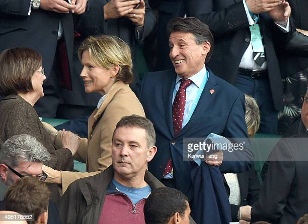 Sebastian Coe and Carole Annett attend the Rugby World Cup Final match between New Zealand and Australia during the Rugby World Cup 2015 at...