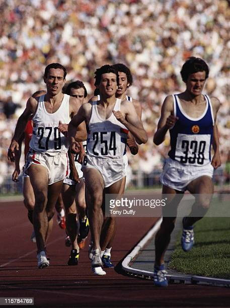 Sebastian Coe and rival Steve Ovett of Great Britain follow Jurgen Straub of East Germany during the Men's 1500m race on 1st August 1980 at the XXII...