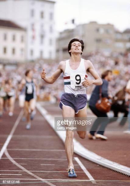 Sebastian Coe crosses the line to break the world mile record in the IAAF Dubai Golden Mile at Bislett Stadium on July 17, 1979 in Oslo, Norway.