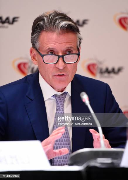 Sebastian Coe, IAAF President during press conference following the 210th IAAF Council Meeting on July 31, 2017 in London, England.