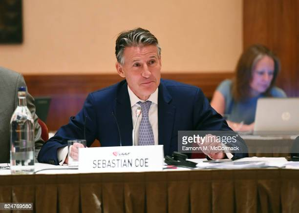 Sebastian Coe IAAF President leads the 210th IAAF Council Meeting on July 31 2017 in London England