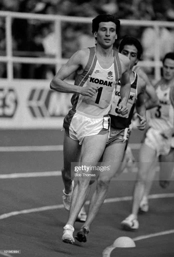 Sebastian Coe of England running in the Kodak Classic Athletics meet held at RAF Cosford on 8th March 1986. (Bob Thomas/Getty Images).
