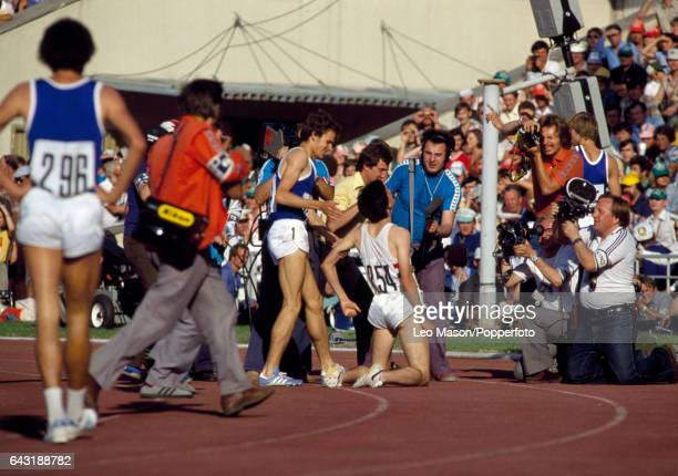 Sebastian Coe of Great Britain after winning the gold medal in the final of the men's 1500 metres event during the Summer Olympic Games in Moscow on...