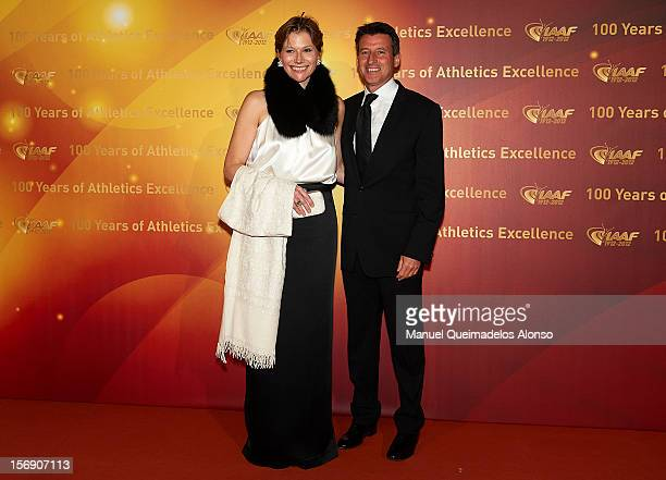Sebastian Coe of Great Britain and his wife Carole Annett attends the IAAF Centenary Gala at the Museo Nacional d'Art de Catalunya on November 24...