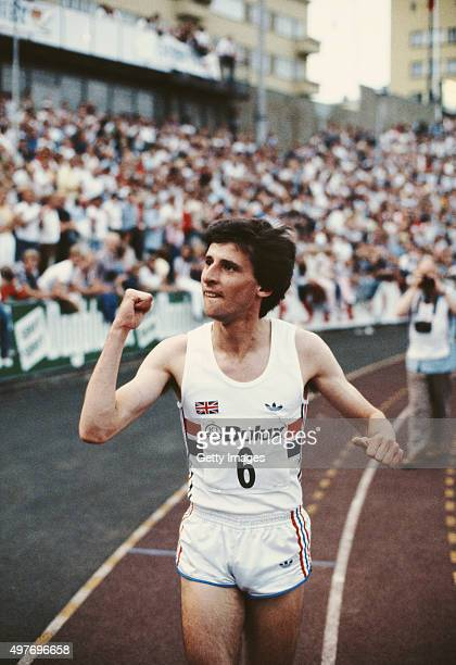 Sebastian Coe of Great Britain celebrates after breaking the 1000m World Record with a time of 2:12.18 at the Bislet stadium on July 11, 1981 in...