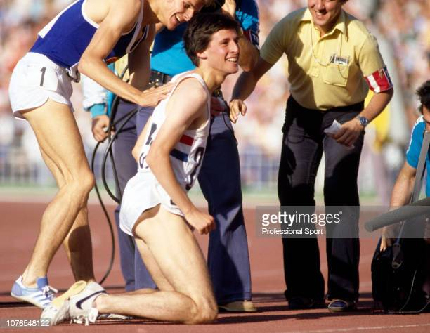 Sebastian Coe of Great Britain competing under the Olympic Flag celebrates after winning the 1500 metres at the Olympic Games on August 1 1980 in...