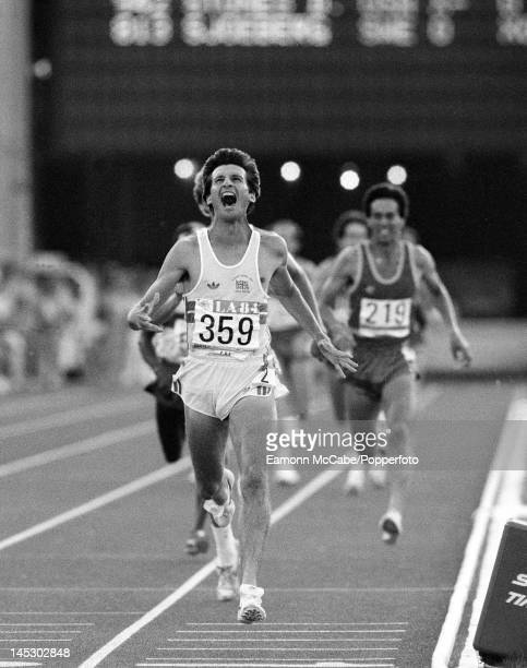 Sebastian Coe of Great Britain crosses the finish line in first place to win the gold medal in the final of the Men's 1500 metres event at the 1984...