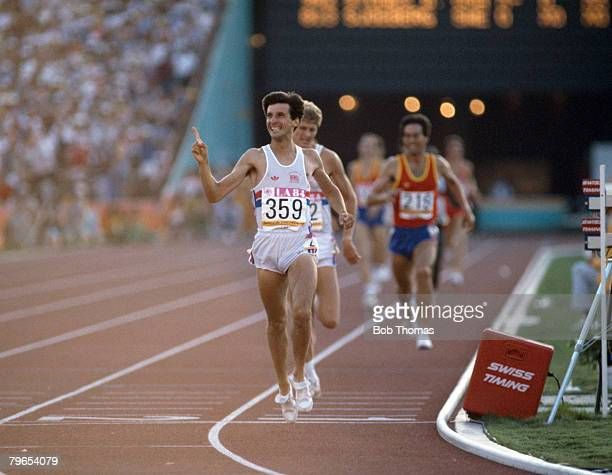Sebastian Coe of Great Britain crosses the finish line in first place to win the gold medal in the final of the Men's 1500 metres event inside the...