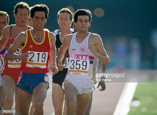 Sebastian Coe of Great Britain leads over Jose Manuel Abascal of Spain in the heat 1 race of the semifinals of the Men's 1500 metres event inside the...