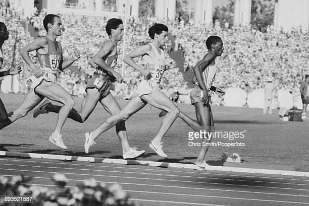 Sebastian Coe of Great Britain pictured 2nd from right in action along with James Igohe of Tanzania on right Jose Manuel Abascal of Spain 2nd from...