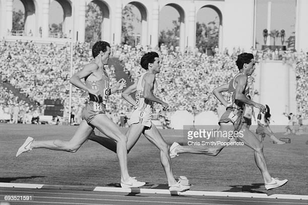 Sebastian Coe of Great Britain pictured in centre in action along with Jose Manuel Abascal of Spain on right and Steve Scott of the United States on...