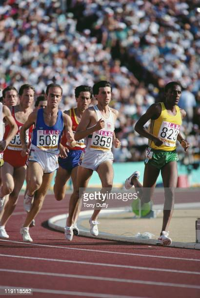Sebastian Coe of Great Britain Riccardo Materazzi of Italy and James Igohe of Tanzania during the heats of the Men's 1500 metres event at the XXIII...