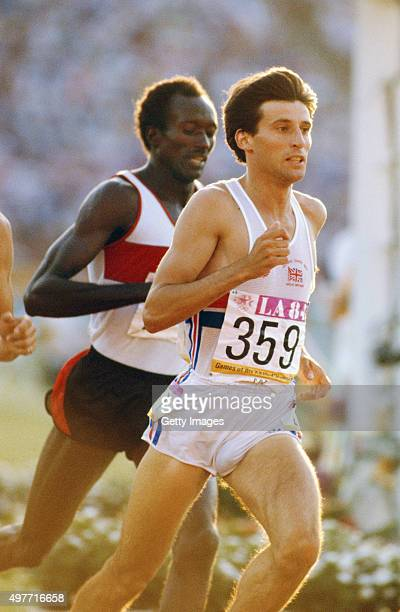 Sebastian Coe of Great Britain in action during the heats of the 800 metres at the 1984 Olympic Games on August 3 1984 in Los Angeles United States