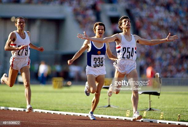 Sebastian Coe of Great Britain wins the men's 1500 metres final from Jurgen Straub of East Germany and Steve Ovett of Great Britain during the Summer...