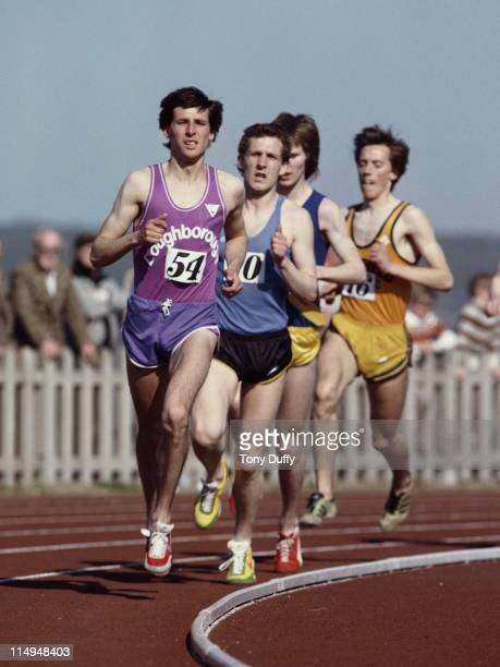 Sebastian Coe running for Loughborough University in May 1980 at the University of Loughborough United Kingdom