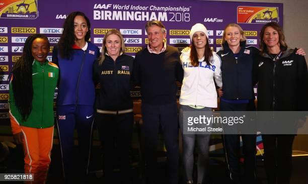 Sebastian Coe the IAAF President poses alongside Marie-Josée Ta Lou of Ivory Coast , Katarina Johnson-Thompson of Great Britain,Sally Pearson of...