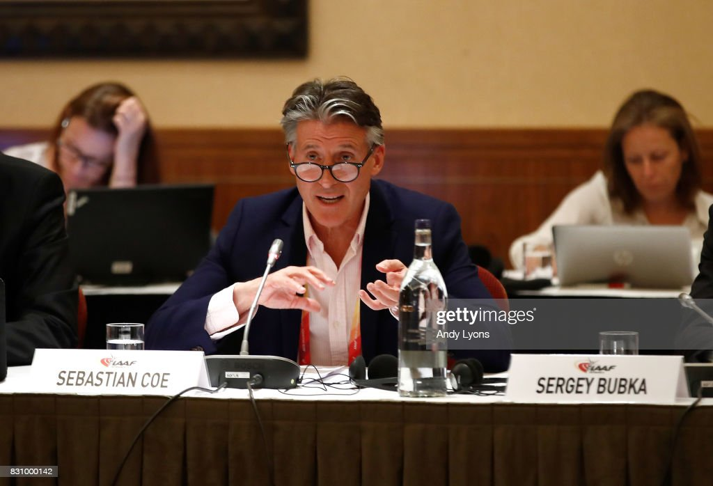 Sebastian Coe the IAAF President talks with to the council members during the 211th IAAF Council Meeting on August 13, 2017 in London, England.