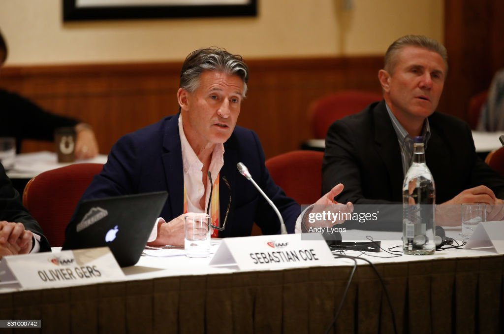 Sebastian Coe the IAAF President with Sergey Bubka, IAAF Senior Vice President to his right talks with to the council members during the 211th IAAF Council Meeting on August 13, 2017 in London, England.