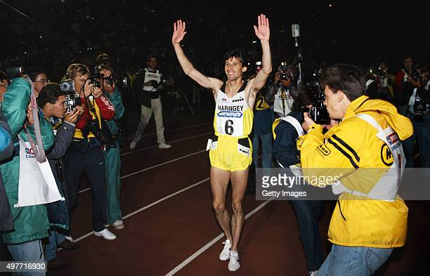 Sebastian Coe waves to the crowd after winning his last race run in the UK, the 800 metres at the McVities Challenge at Crystal Palace on September...