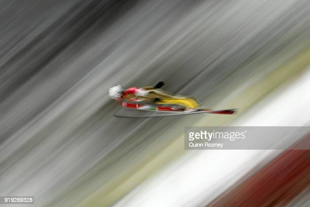 Sebastian Colloredo of Italy makes a jump during the Ski Jumping - Men's Large Hill on day eight of the PyeongChang 2018 Winter Olympic Games at...