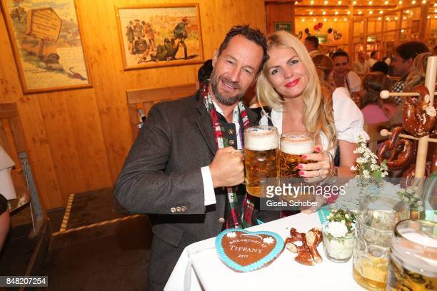 Sebastian Copeland and his wife Carolin Copeland during the 'Fruehstueck bei Tiffany' at Schuetzenfesthalle at the Oktoberfest on September 16, 2017...