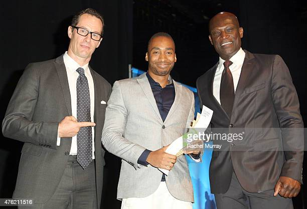 Sebastian Copeland honoree Prince Ea and actor Peter Mensah onstage during the Global Green USA 19th Annual Millennium Awards on June 6 2015 in...