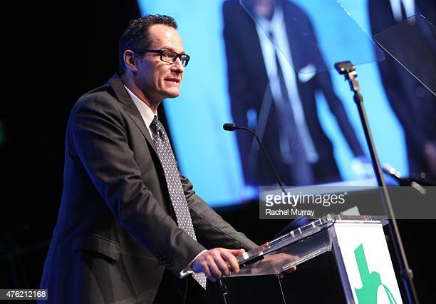 Sebastian Copeland speaks onstage during the Global Green USA 19th Annual Millennium Awards on June 6 2015 in Century City California