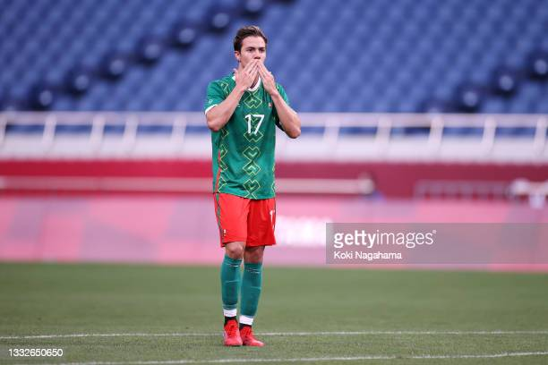 Sebastian Cordova of Team Mexico celebrates after scoring their side's first goal during the Men's Bronze Medal Match between Mexico and Japan on day...