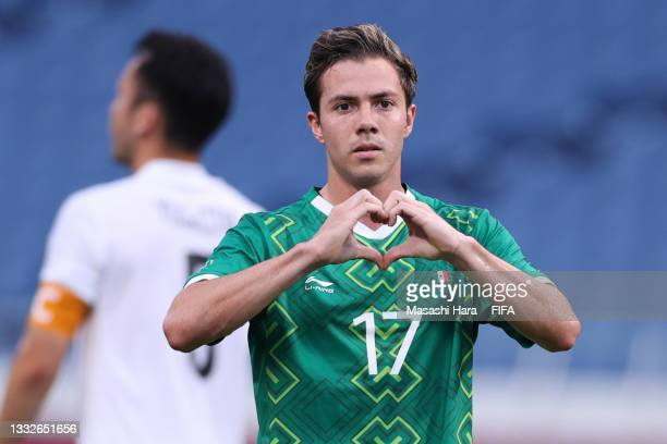 Sebastian Cordova of Team Mexico celebrates after scoring their team's first goal during the Men's Bronze Medal Match between Mexico and Japan on day...