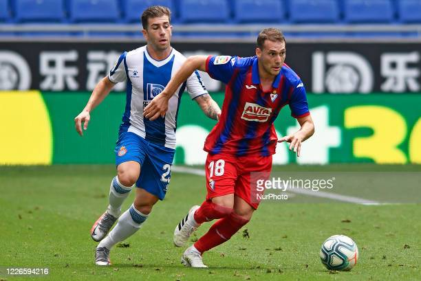 Sebastian Cristoforo and Adrian Embarba during the match between FC RCD Espanyol and SD Eibar corresponding to the week 36 of the Liga Santander...