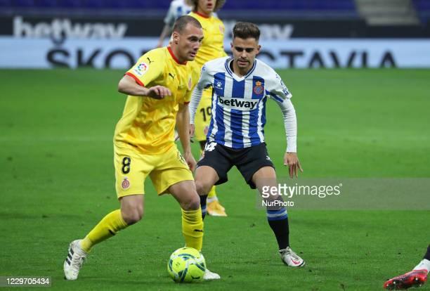 Sebastian Cristoforo and Oscar Melendo during the match between RCD Espanyol and Girona FC corresponding to the week 13 of the Liga Smartbank played...