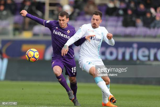 Sebastian Cristoforo of ACF Fiorentina in action against Fabrizio Cacciatore of AC Chievo Verona during the serie A match between ACF Fiorentina and...