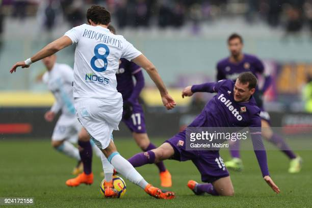 Sebastian Cristoforo of ACF Fiorentina in action against Ivan Radovanovic of AC Chievo Verona during the serie A match between ACF Fiorentina and AC...