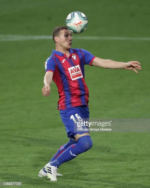 Sebastian Cristoforo of SD Eibar controls the ball during the Liga match between SD Eibar SAD and CD Leganes at Ipurua Municipal Stadium on July 09...